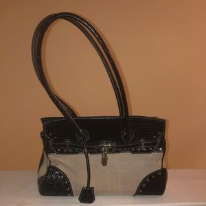 Handbags - Black and Cream Birkin style handbag